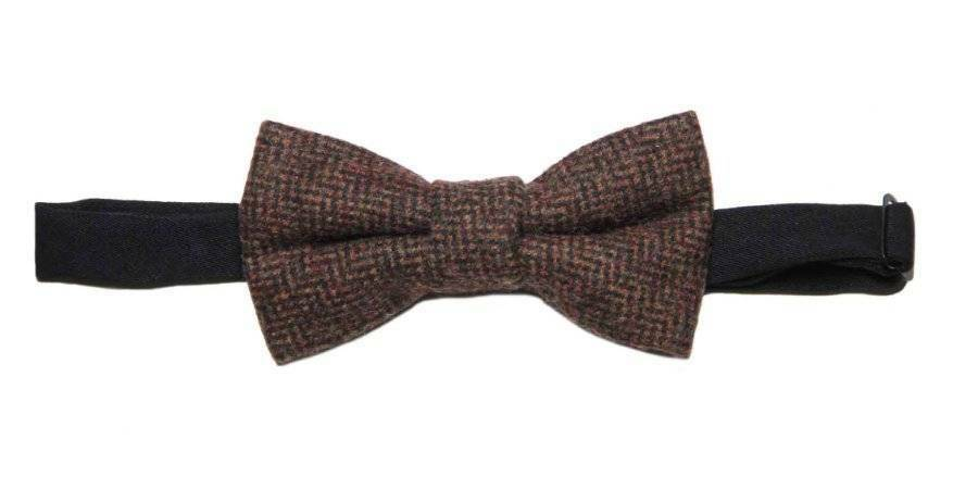 Gascoigne Bow Tie Wool Tweed Brown Orange Pre-Tied OS Men's