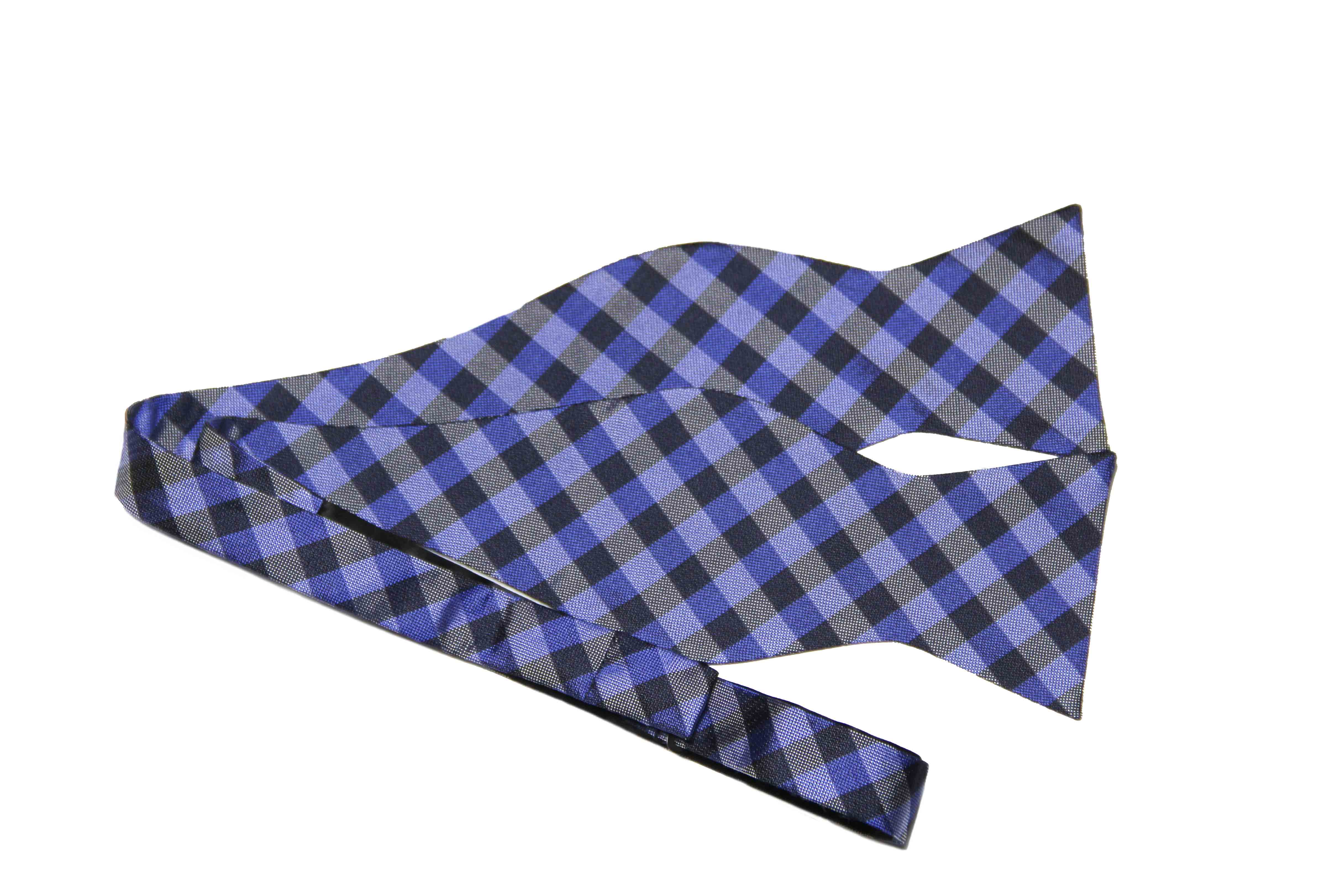 Calvin Klein Silk Bow Tie Blue Gray Lattice Check Men's