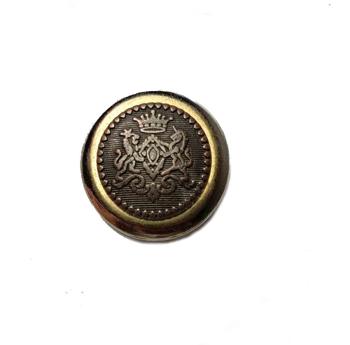 One Vintage Aquascutum Blazer Button Antique Gold Brown Brass Crown Lion Unicorn Men's