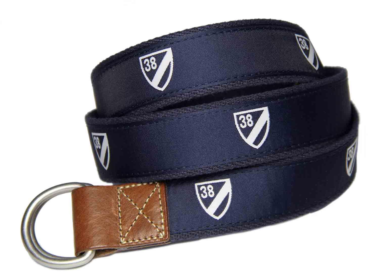 Daniel Cremieux D-Ring Casual Belt Navy Blue White Brown Shield Pattern Men's Size S / M