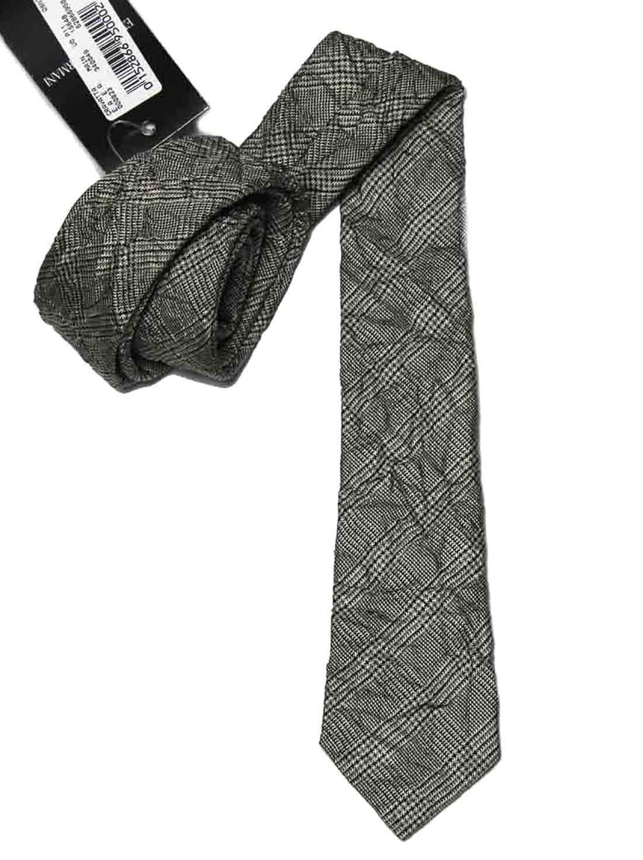 Emporio Armani Permanently Wrinkled Italian Silk Tie Gray Black Glend Plaid Men's