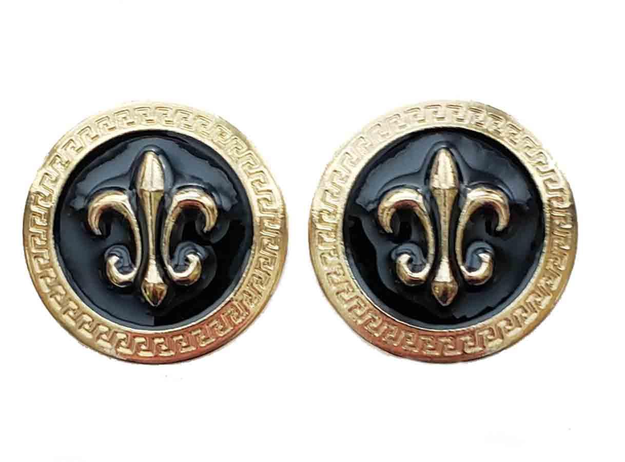 Two Gascoigne Fleur de Lis Blazer Buttons Gold Black Metal Shank Men's 7/8 Inch