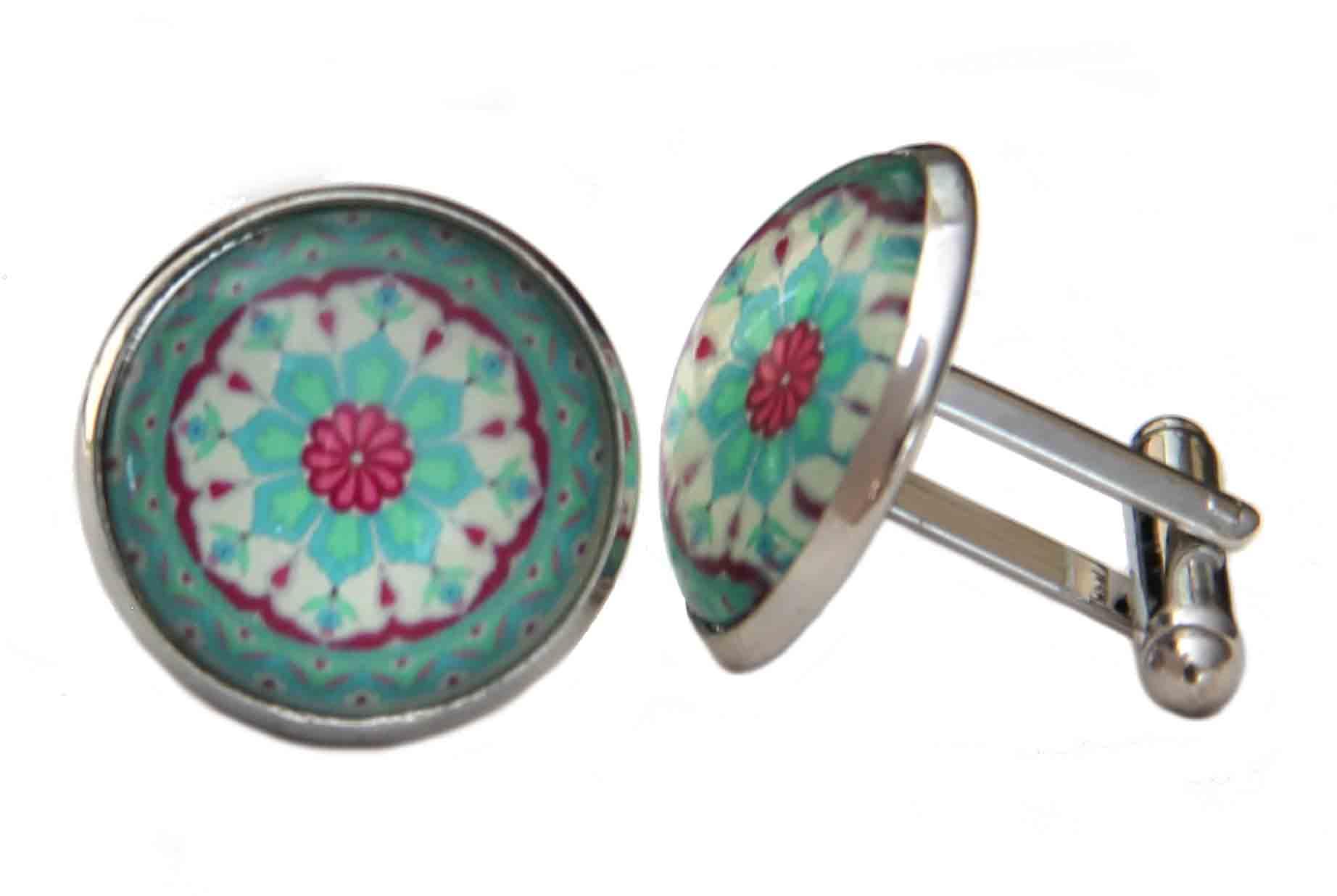 Gascoigne Cufflinks Floral Pattern Silver Metal Alloy Pink Green White Men's
