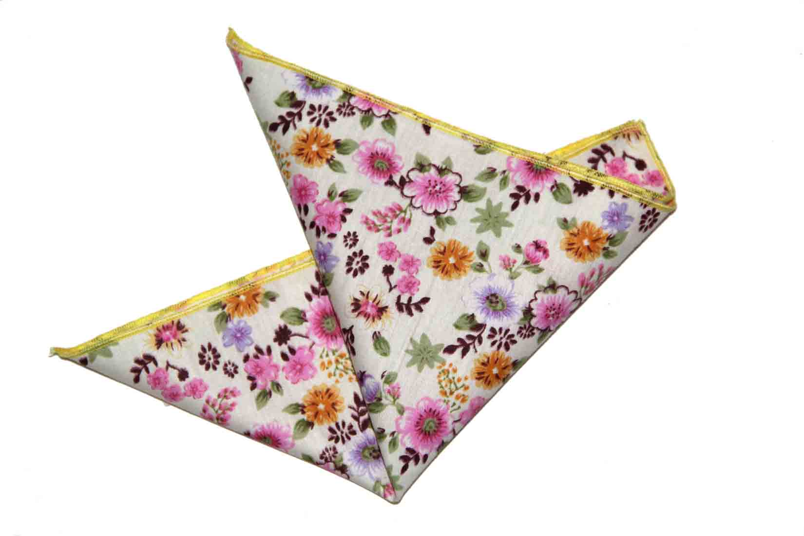 Gascoigne Pocket Square Cotton Floral White Pink Purple Green Orange Lavender Men's