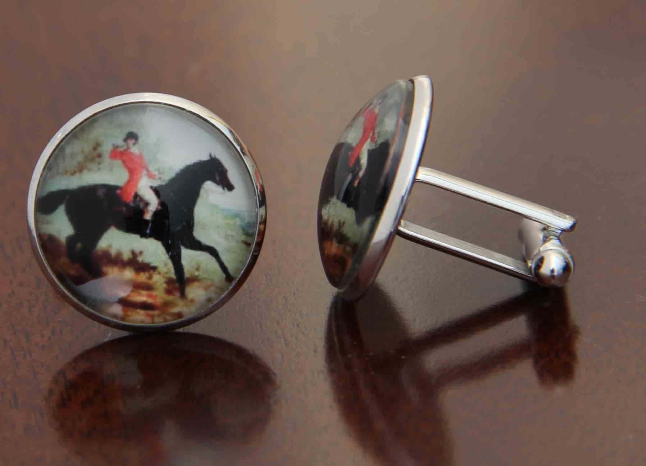Gascoigne Fox Hunter Cufflinks Metal Glass Men's