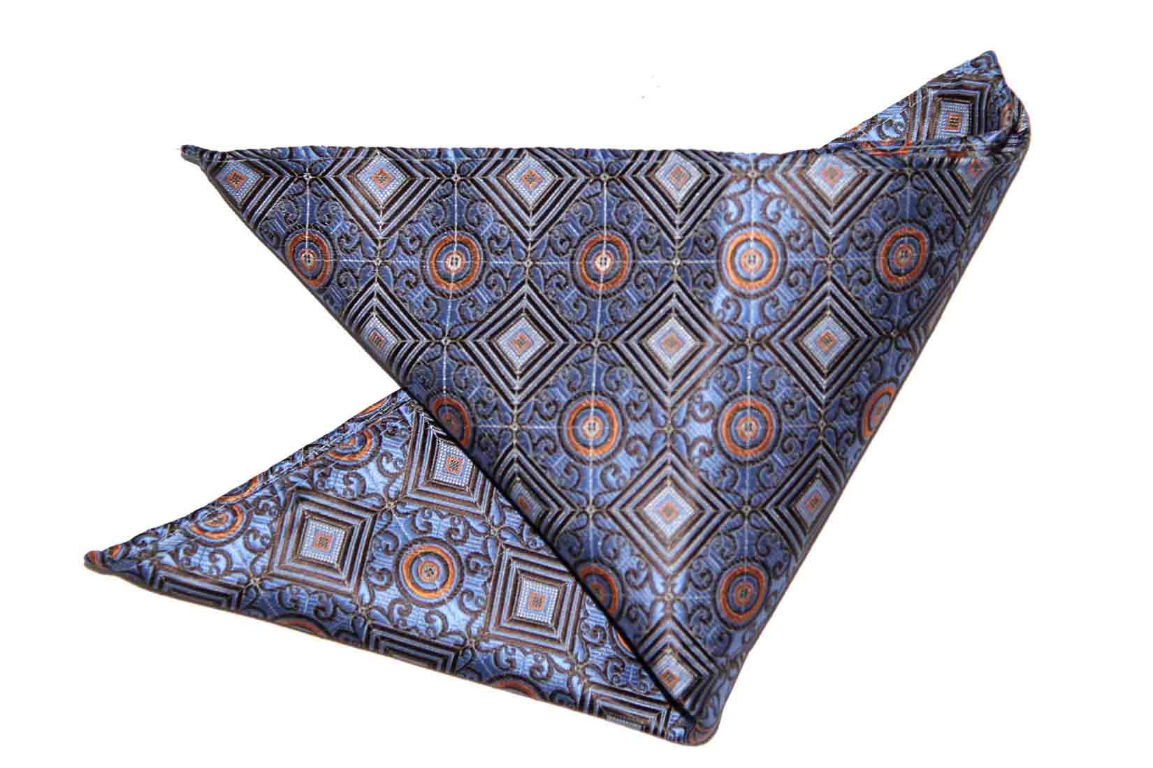 Gascoigne Pocket Square Silk Geometric Blue Brown Gray Orange Men's