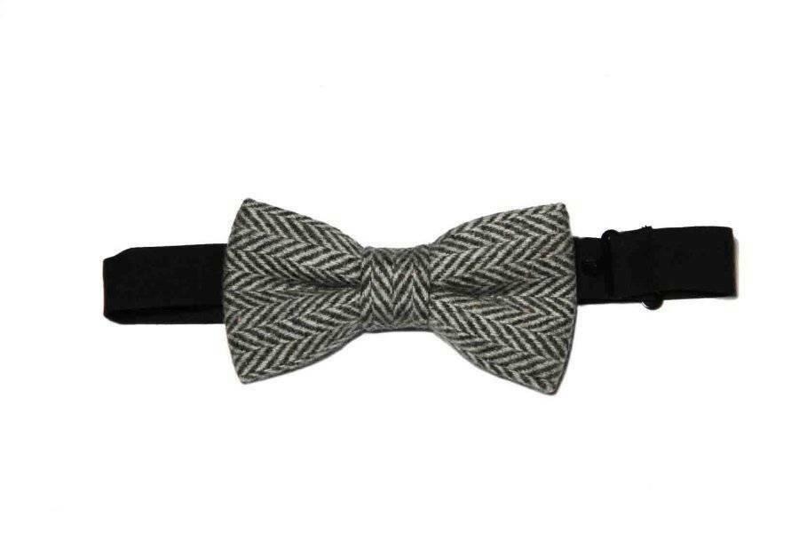 Gascoigne Bow Tie Wool Gray Herringbone Pre-Tied Men's OS
