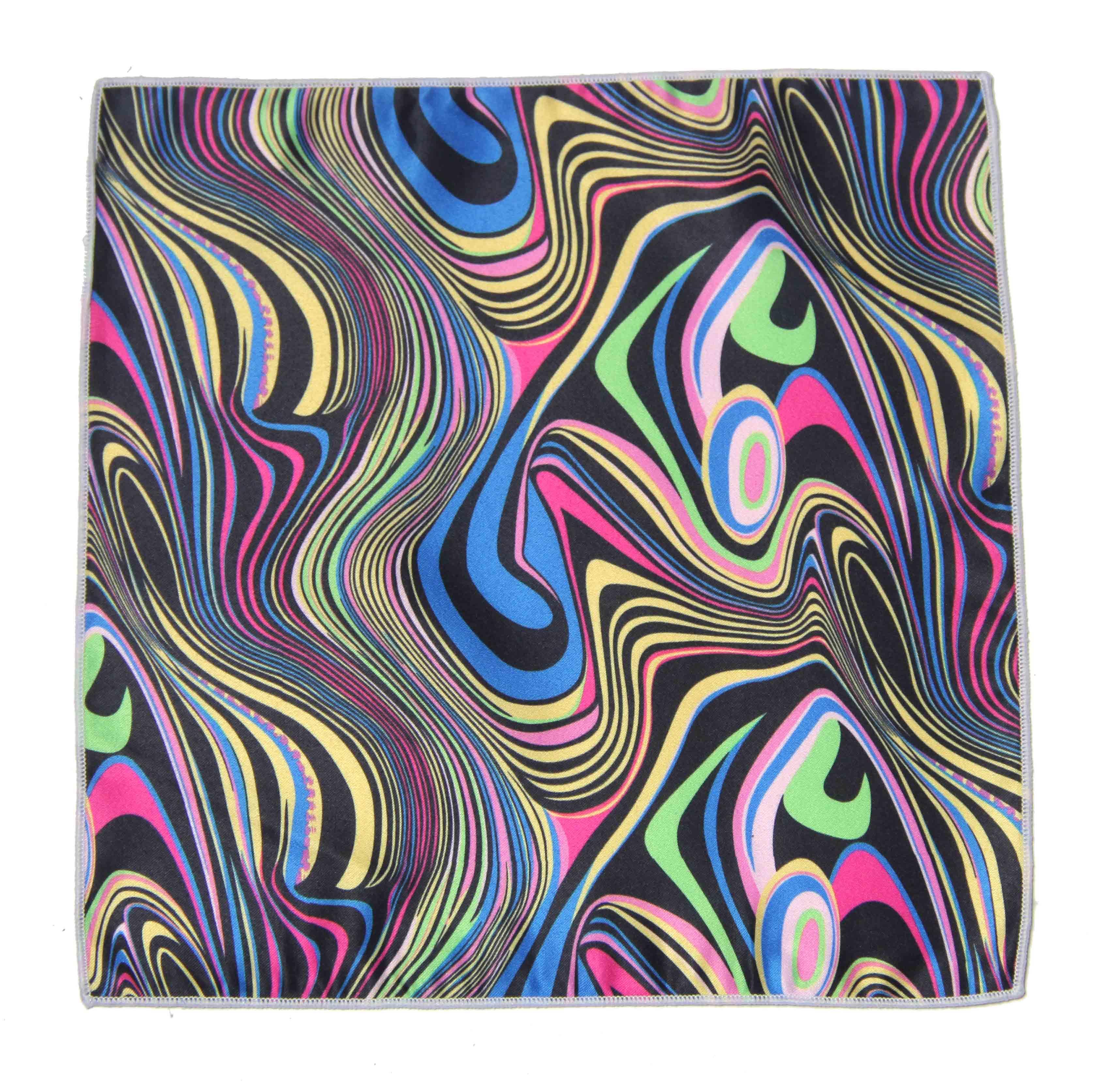 Gascoigne Silk Pocket Square Multicolor 60s Mod Retro Pattern Men's