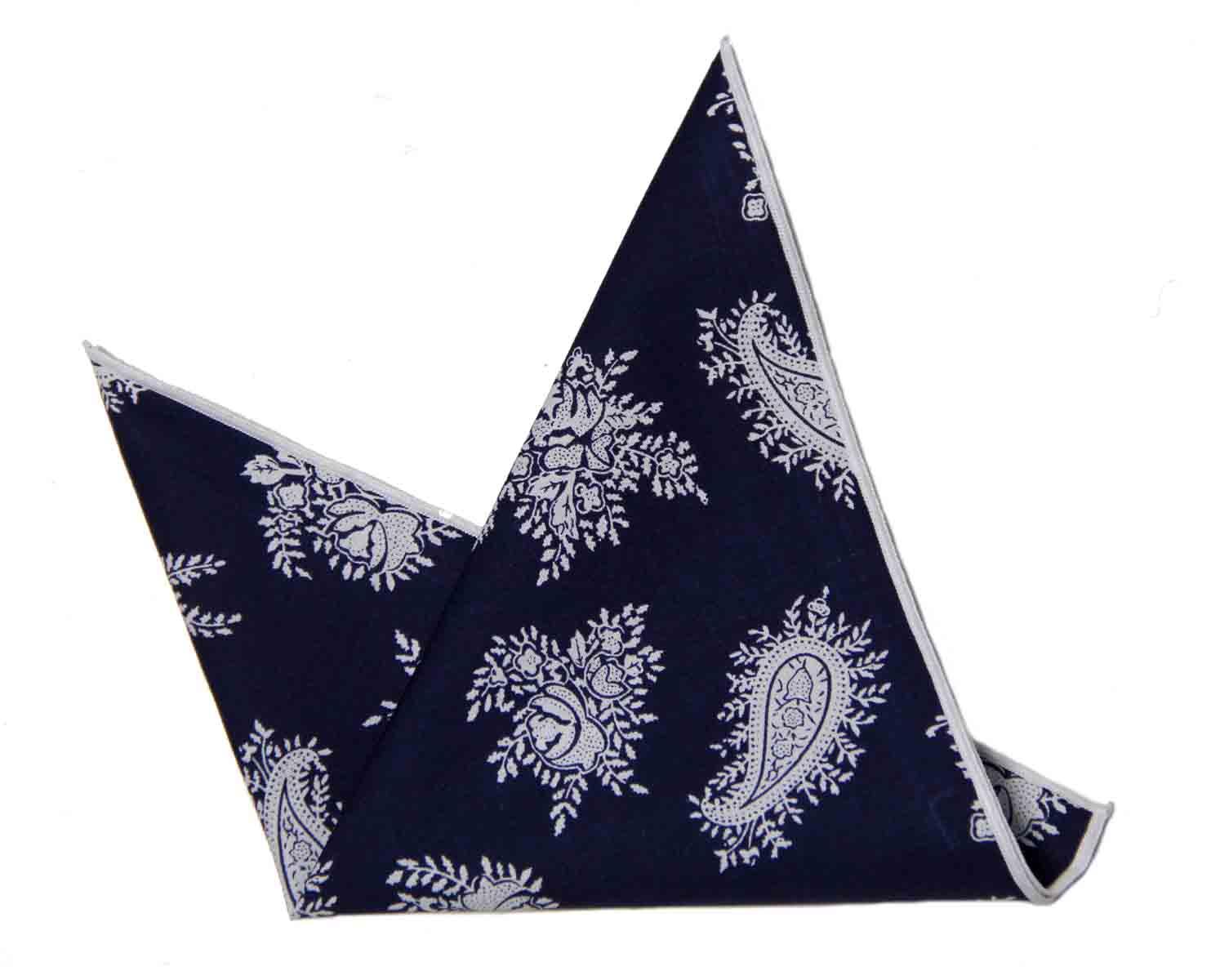 Gascoigne Pocket Square Cotton Navy Blue White Floral and Paisley Men's