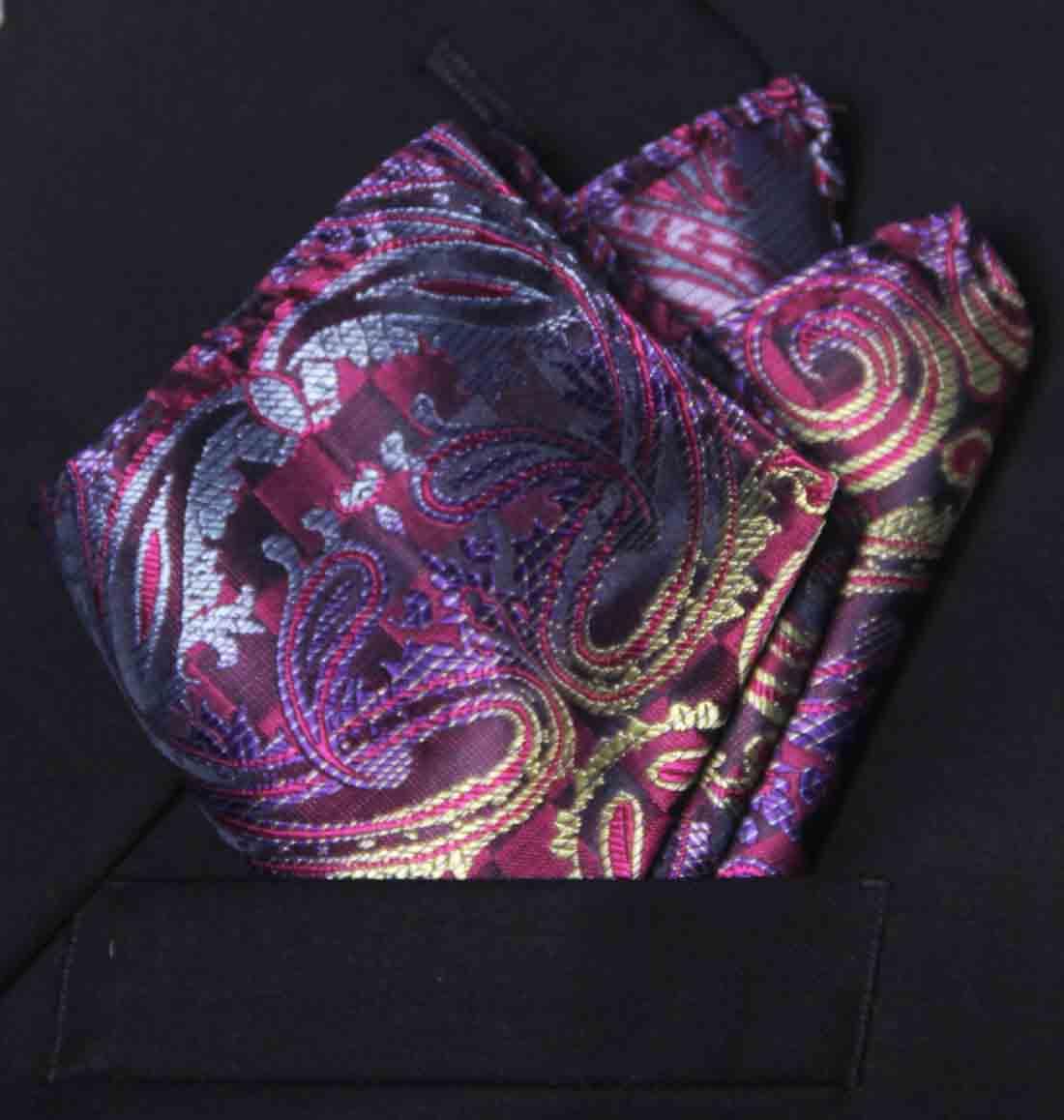 Gascoigne Pocket Square Purple Paisley Silk Blend Men's