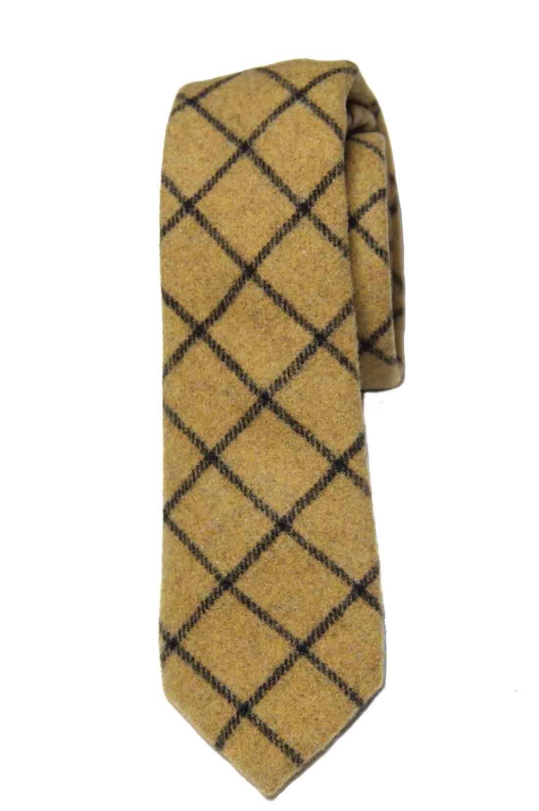 Gascoigne Wool Blend Winter Tie Tan Gray Men's Long