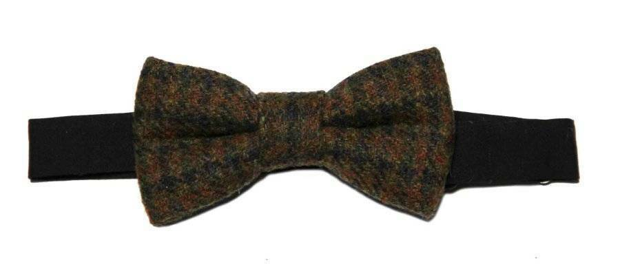 Gascoigne Bow Tie Wool Tweed Brown Orange Yellow Pre-Tied Men's OS