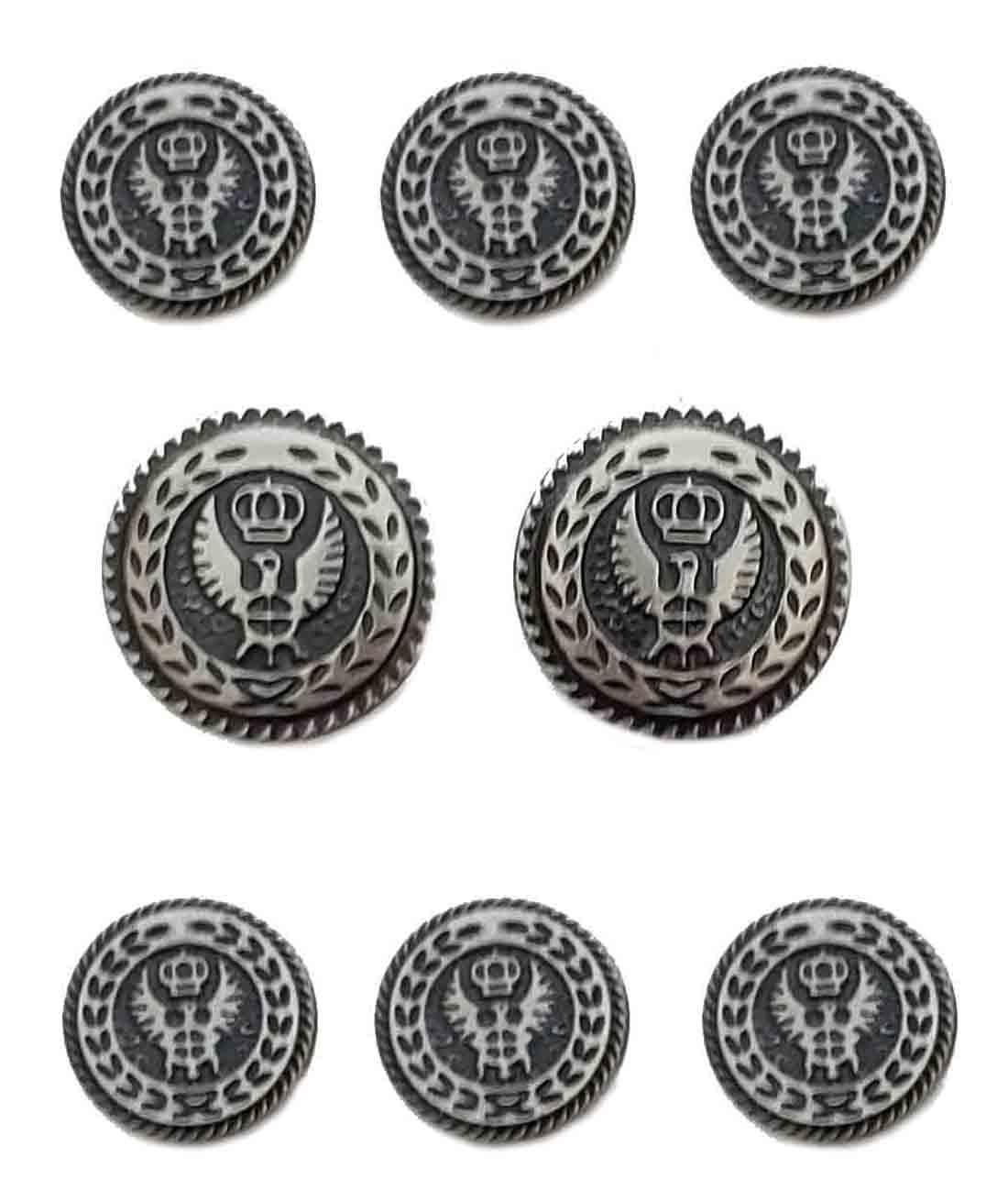 Vintage Haband Blazer Buttons Set Metal Silver Gray Eagle Crown Shank Men's