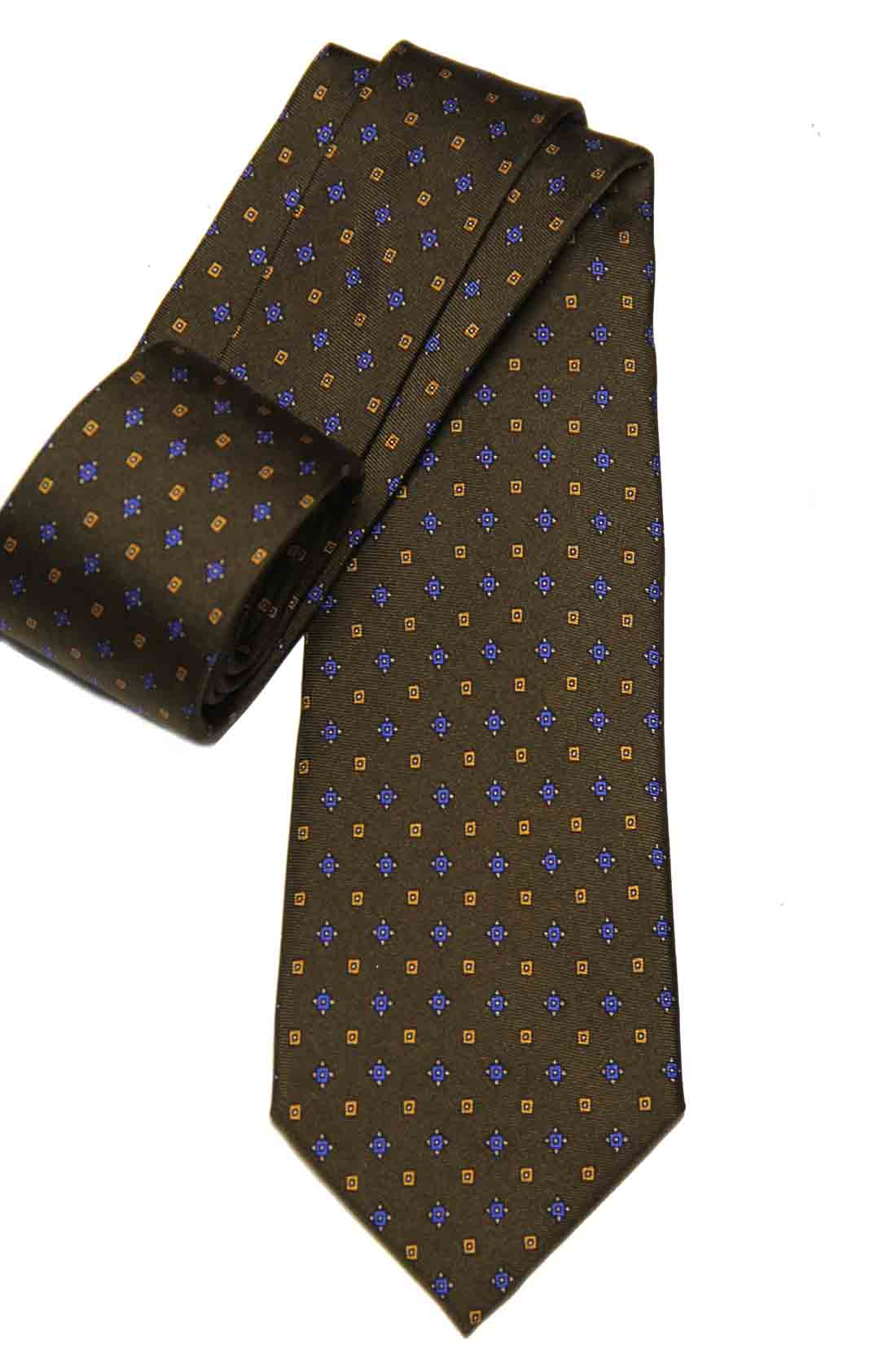 Hugh Parsons Italian Silk Tie Brown Blue Orange Geometric Men's
