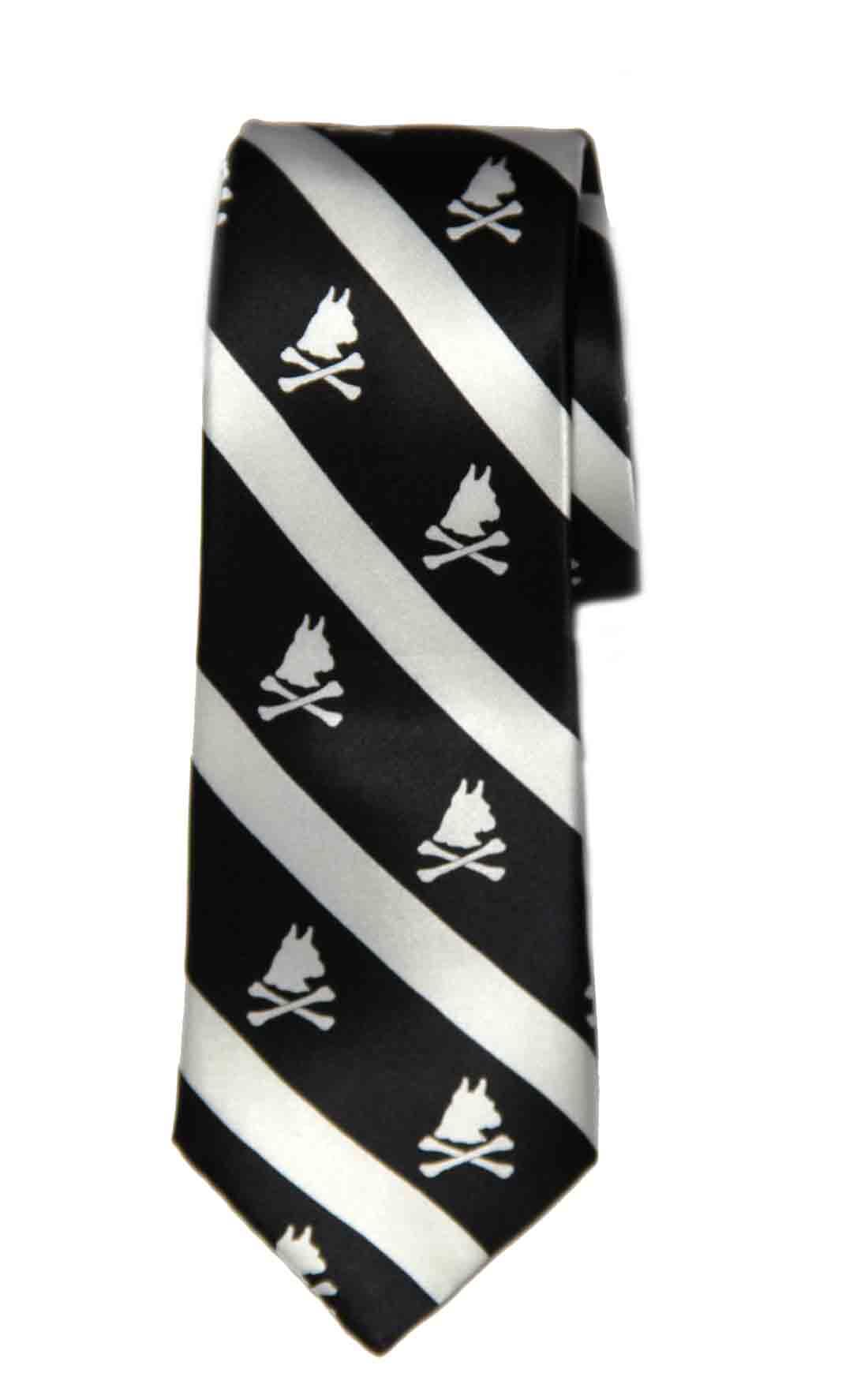 Nick Graham Silk Tie Black White Dobermans Crossbones Striped Men's