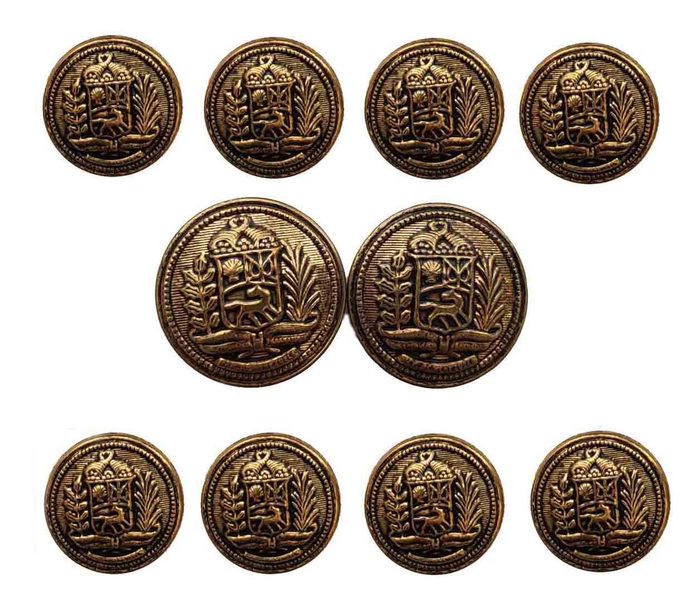 Vintage Palm Beach Blazer Buttons Set Antique Gold Brown Shank Men's