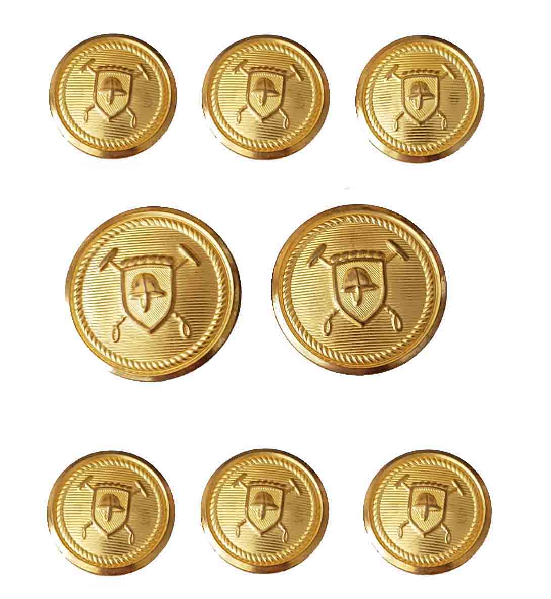 Vintage 1990s Polo Ralph Lauren by Waterbury Blazer Buttons Set Gold Brass Helmet Shield Men's