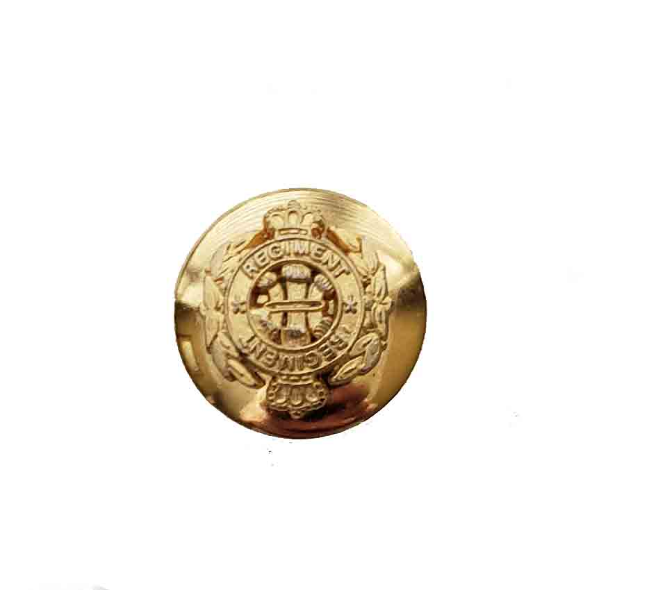 One Vintage Semi Dome Regiment Replacement Blazer Button Gold Brass Crown Shield Men's