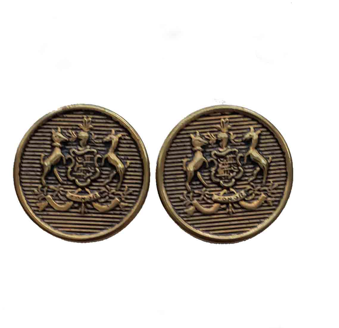 Two Vintage Southwick Blazer Buttons Antique Gold Brass Shank Dogs Honor Shield Men's