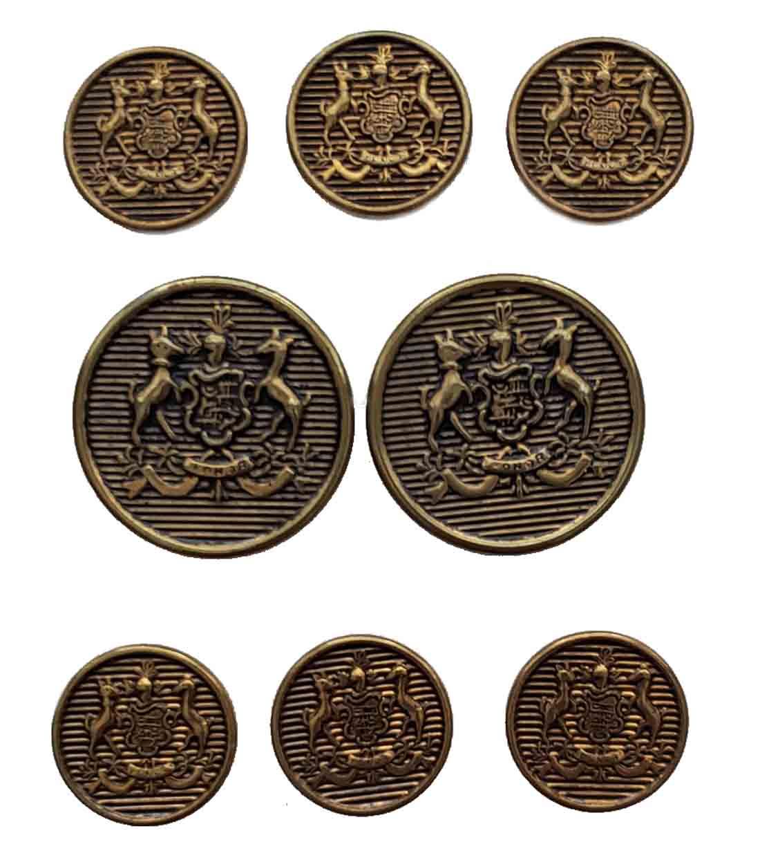 Vintage Southwick Blazer Buttons Set Antique Gold Brass Shank Dogs Honor Shield Men's
