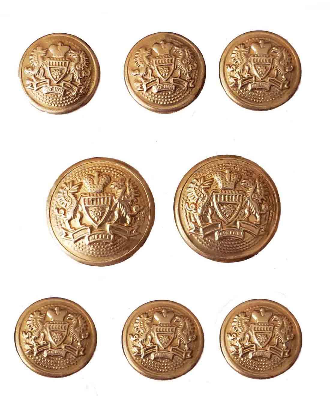 Vintage Stanley Blacker Blazer Buttons Set Gold Brass Shank Griffins Crown Shield Men's