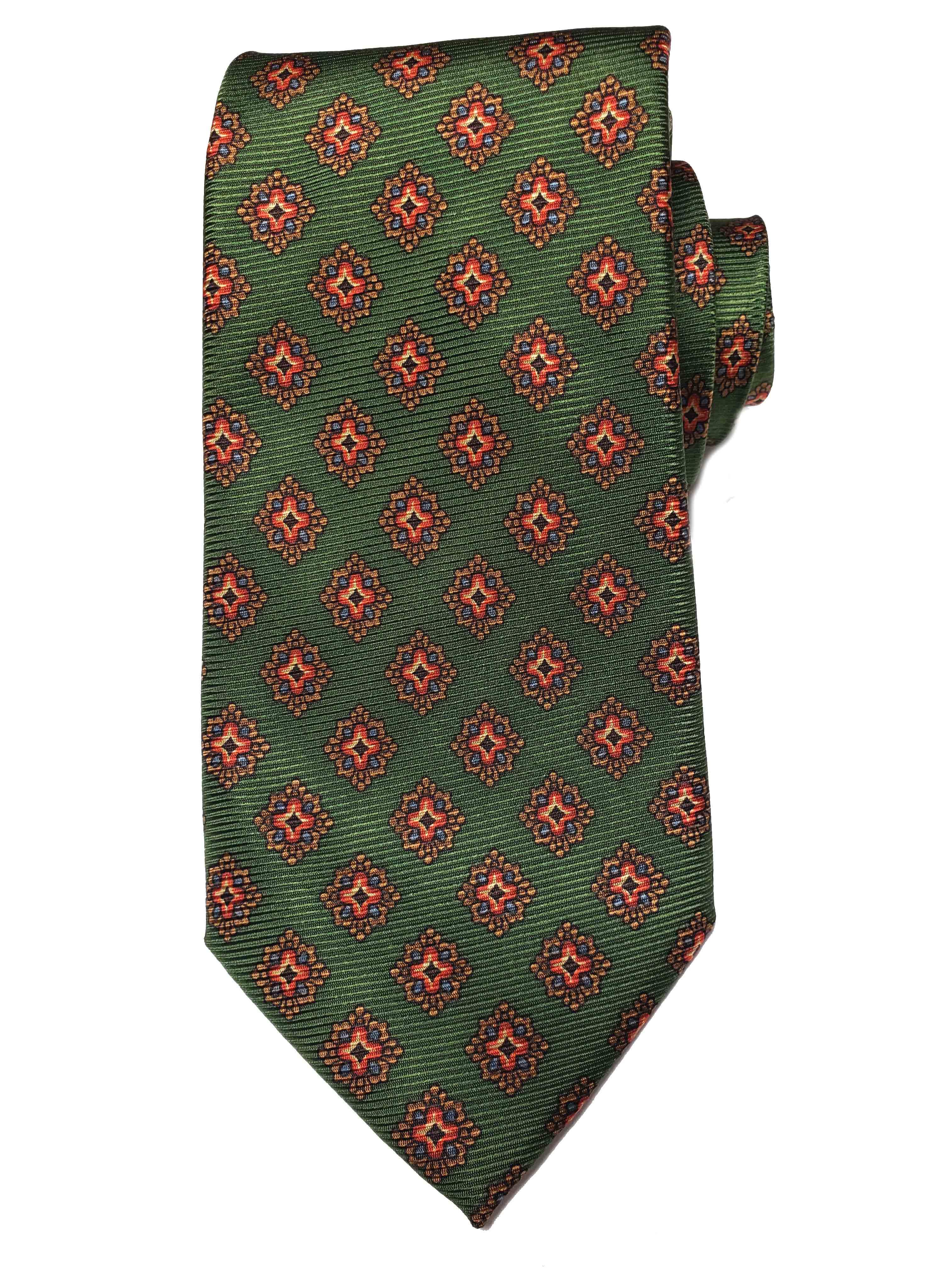 Tasso Elba Silk Tie Olive Green Brown Blue Red White Men's