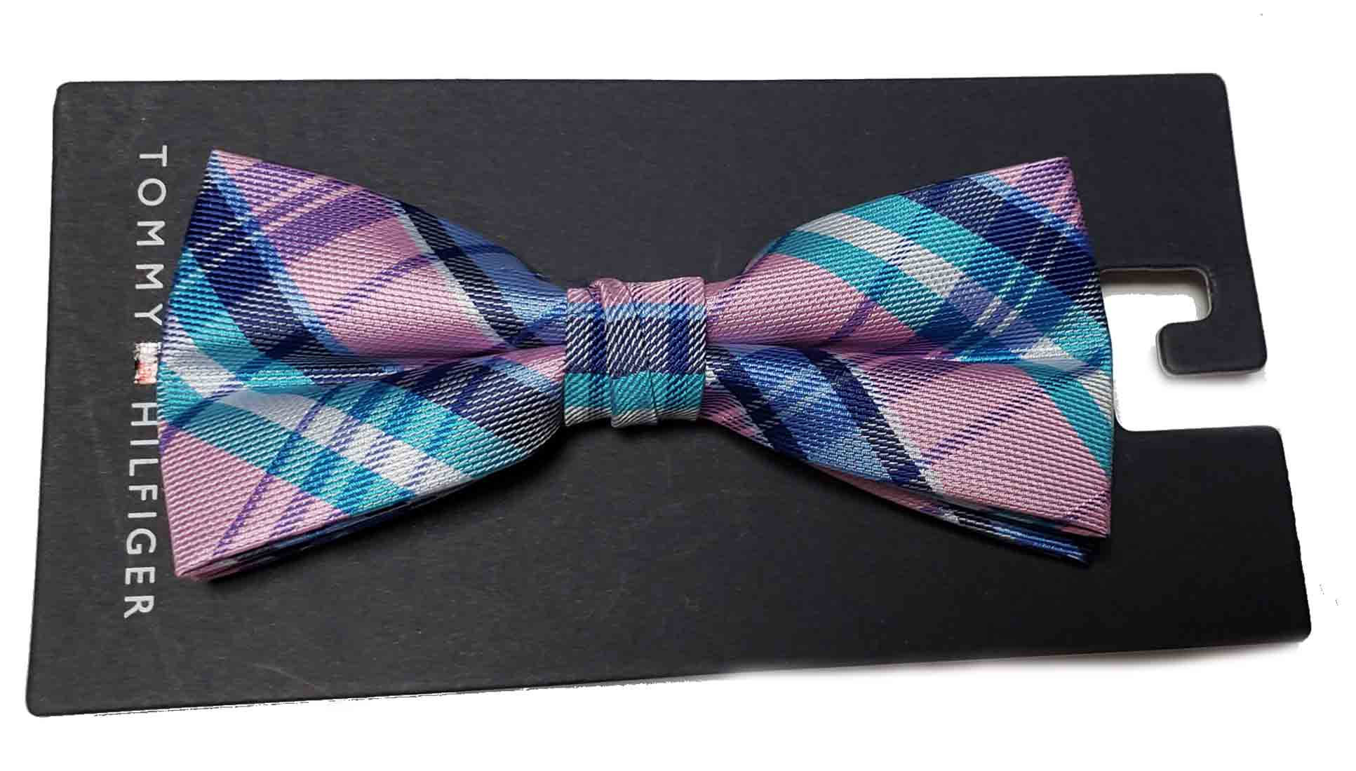 Tommy Hilfiger Bow Tie Plaid Pink Teal Blue Men's Pre-Tied OS