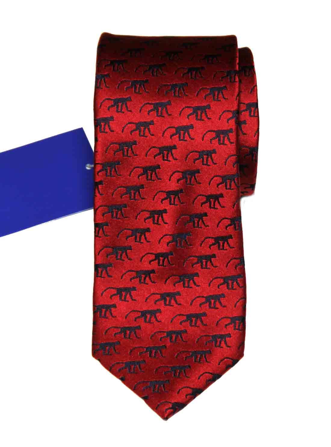 Tresanti Reale Silk Tie Red Black Monkeys Men's