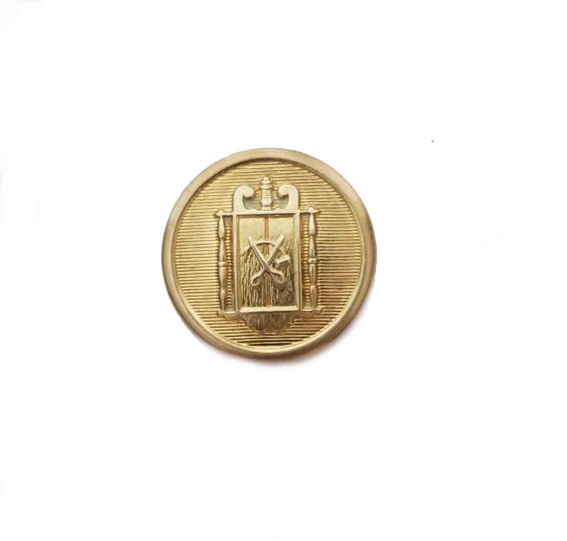 One Vintage Waterbury Gold Brass Blazer Button Scissors in Frame Pattern Men's