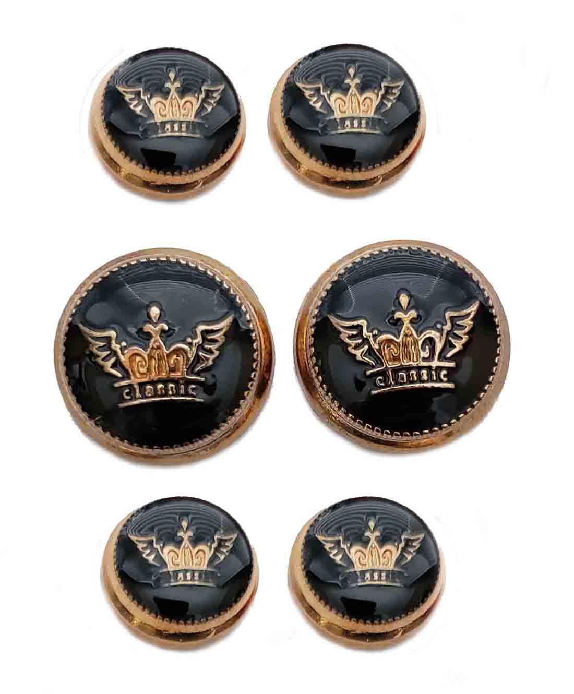 Waterbury Coronet Crown Brass Enamel Dome Blazer Buttons Set Gold Black Shank Men's