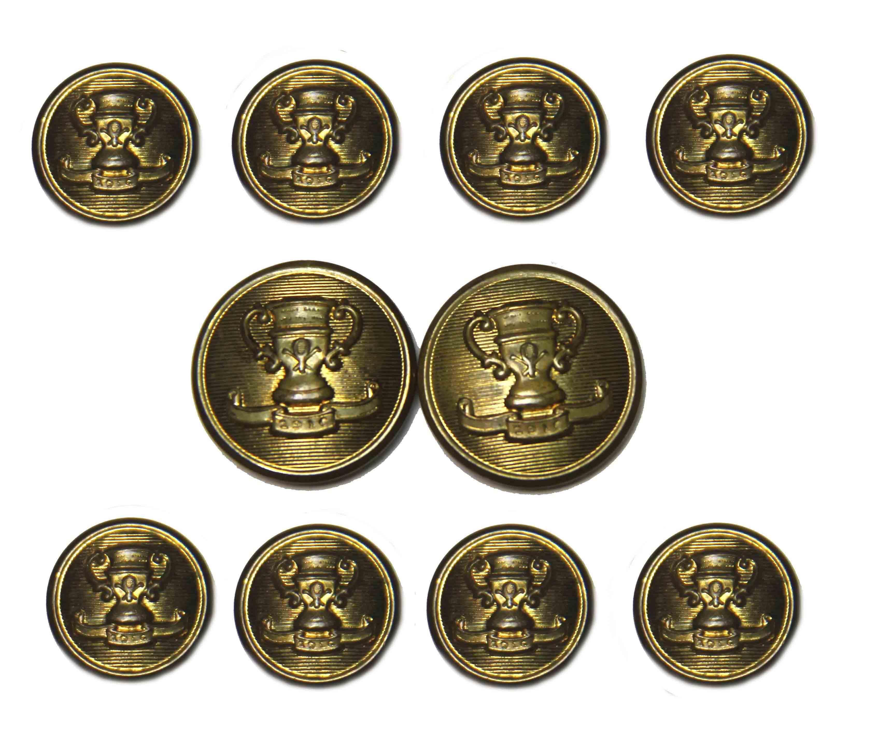 Vintage 1970s Waterbury Blazer Buttons Set Gold Brass Winners Cup Men's
