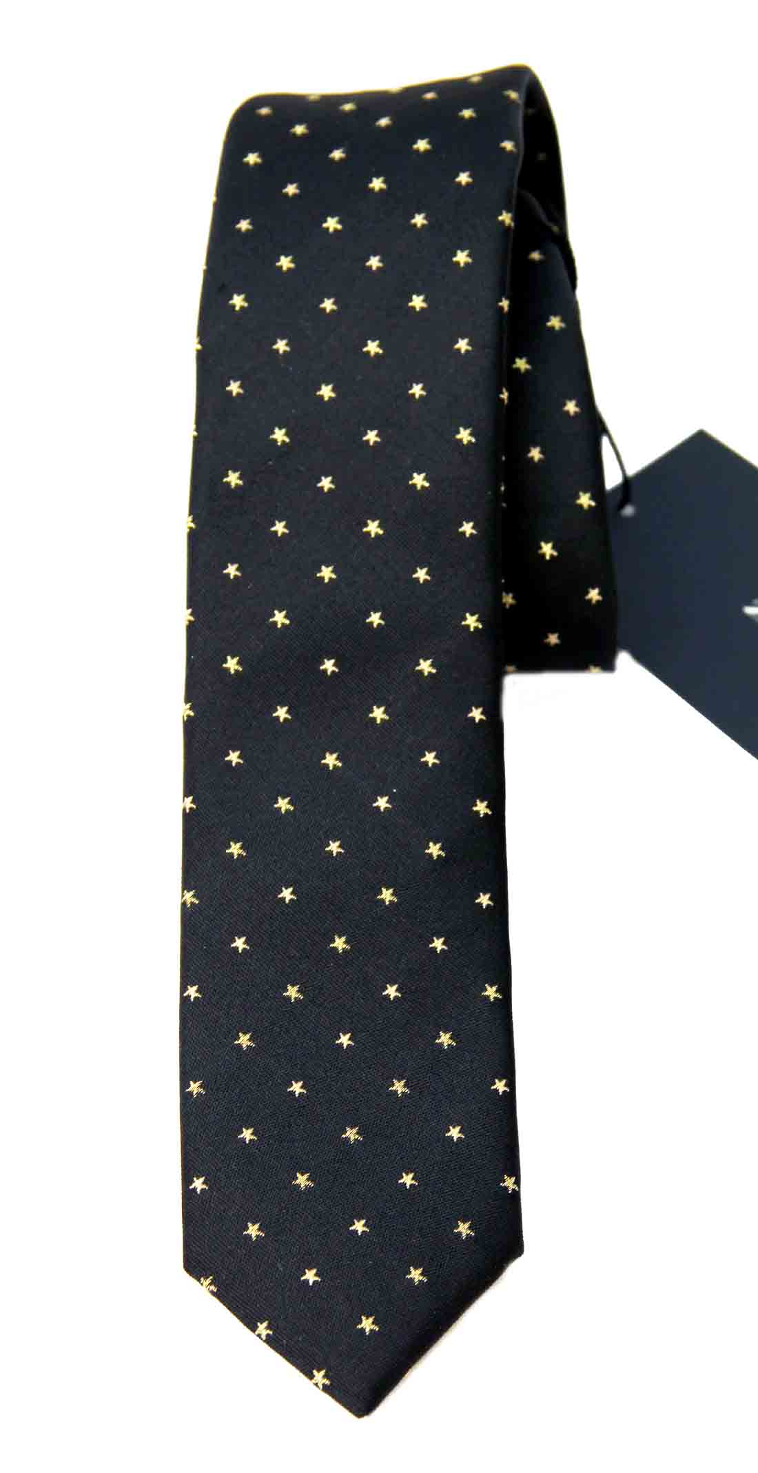 Zara Tie Silk Blend Narrow Black Gold Stars Narrow Men's