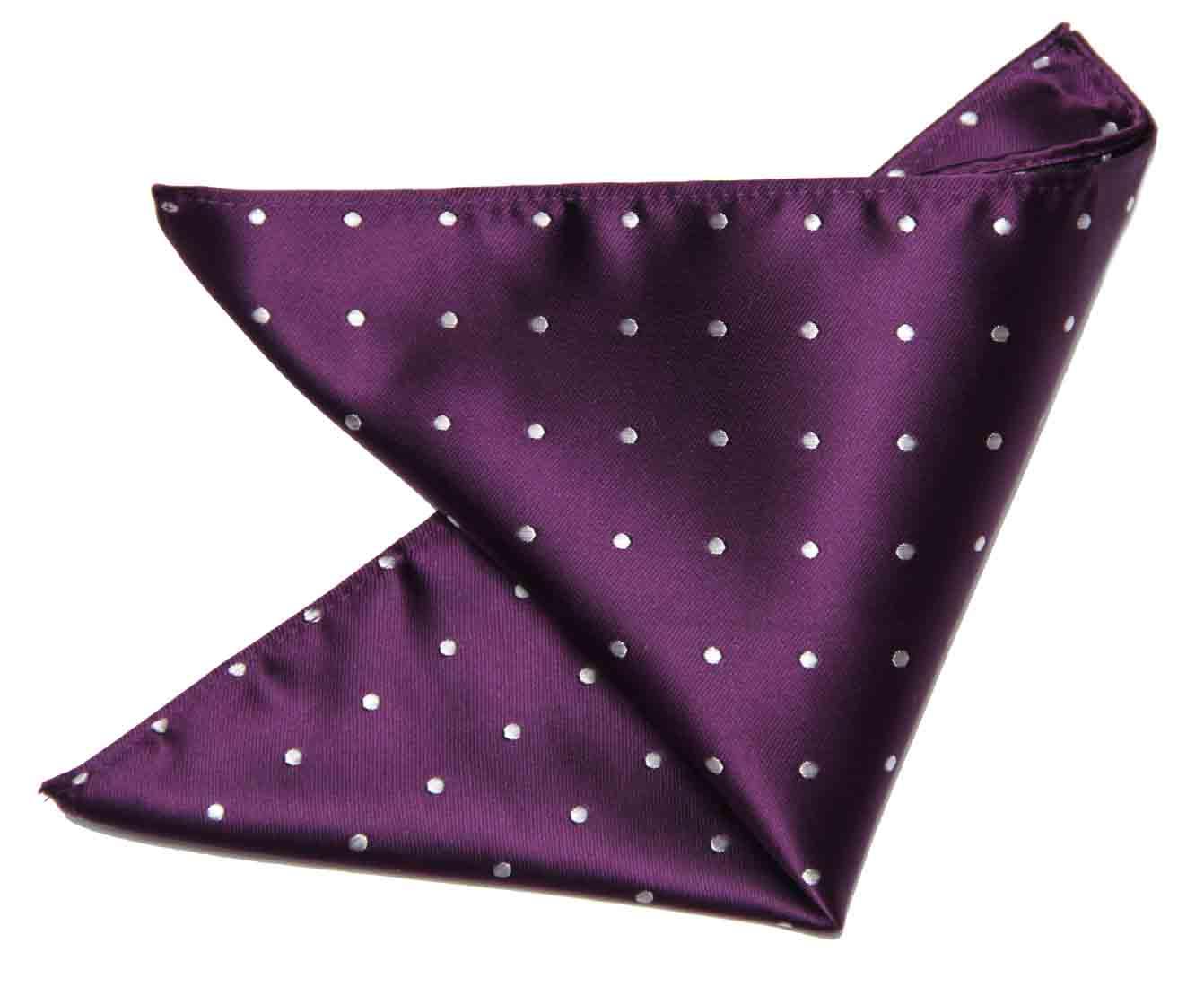 Gascoigne Pocket Square Purple White Silk Polka Dot Men's