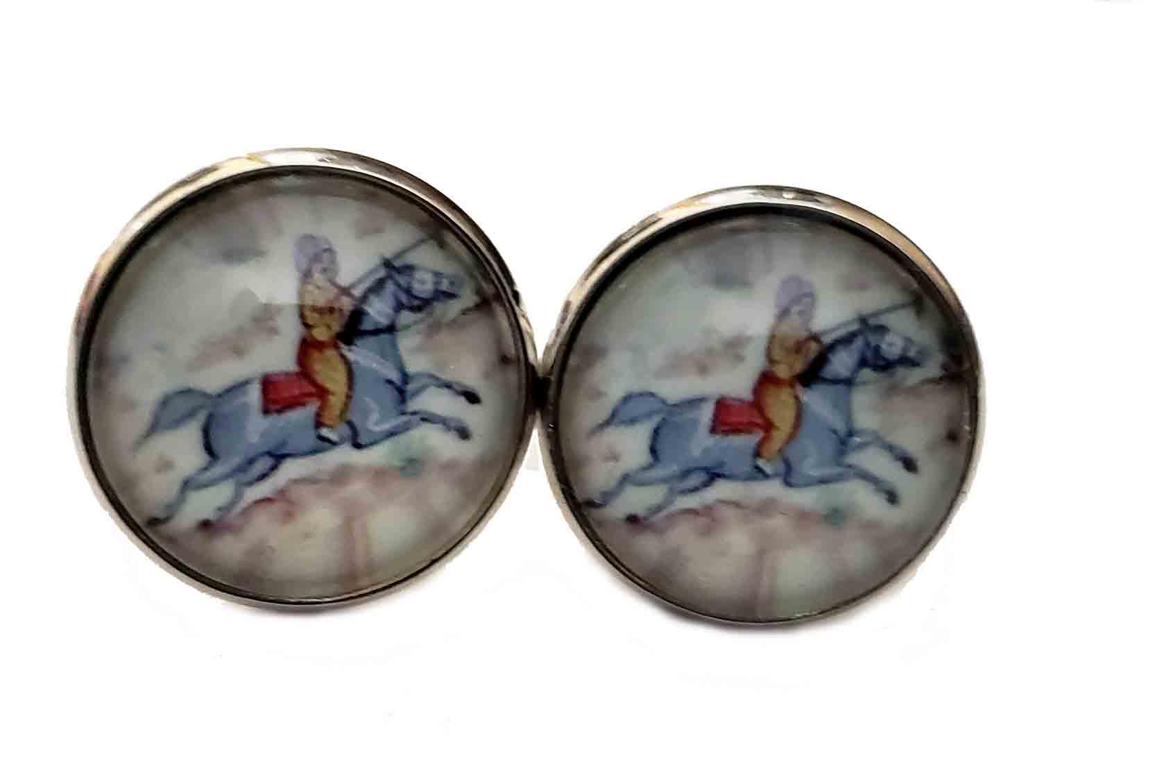 Gascoigne Ancient Polo Player Cufflinks Silver Metal Alloy Men's