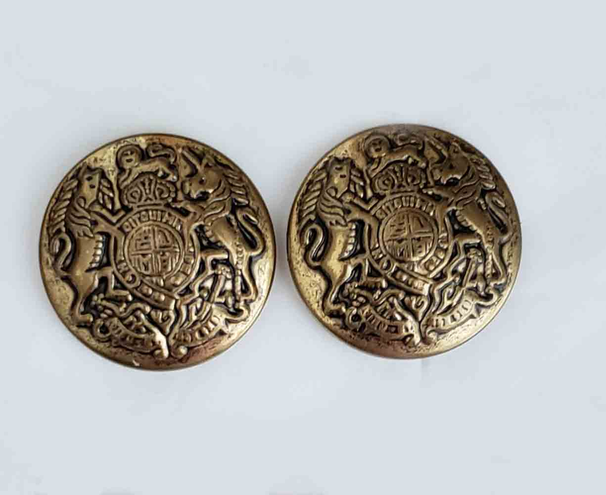 Two Vintage Andhurst Blazer Buttons Antique Gold Brass Lion Unicorn Shield Men's