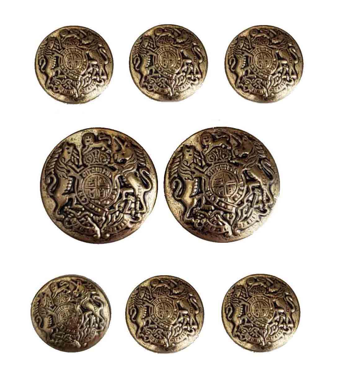 Vintage Andhurst Blazer Buttons Set Antique Gold Brass Lion Unicorn Shield Men's