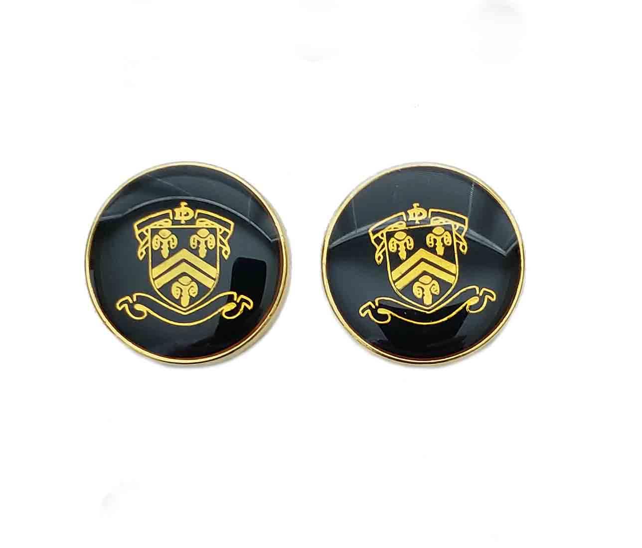 Two Men's Acquasctum Blazer Buttons Gold Black Regal Shield Men's