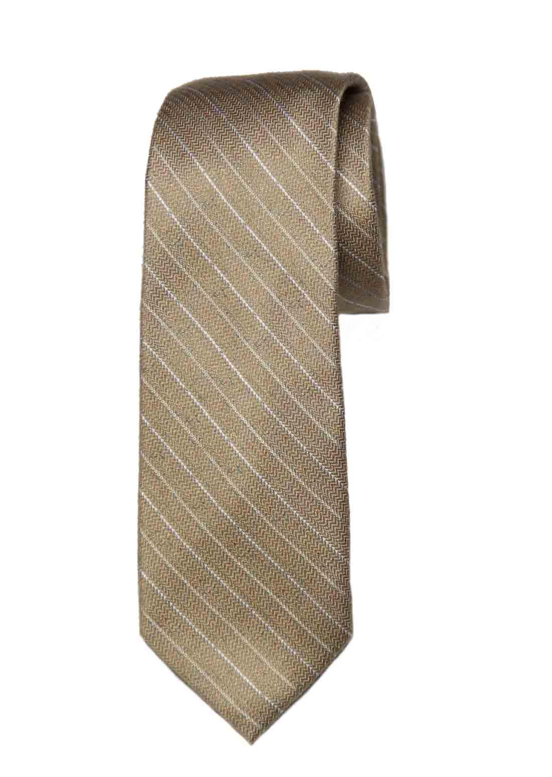 Ben Sherman Tie Tan White Striped Silk Cotton Men's Narrow