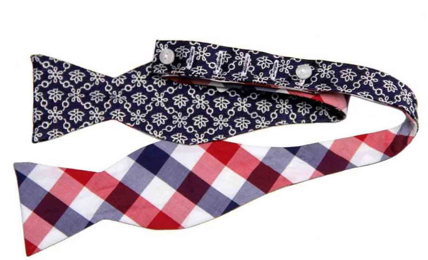 Brooks Brothers Bow Tie Cotton Silk Floral Gingham OS