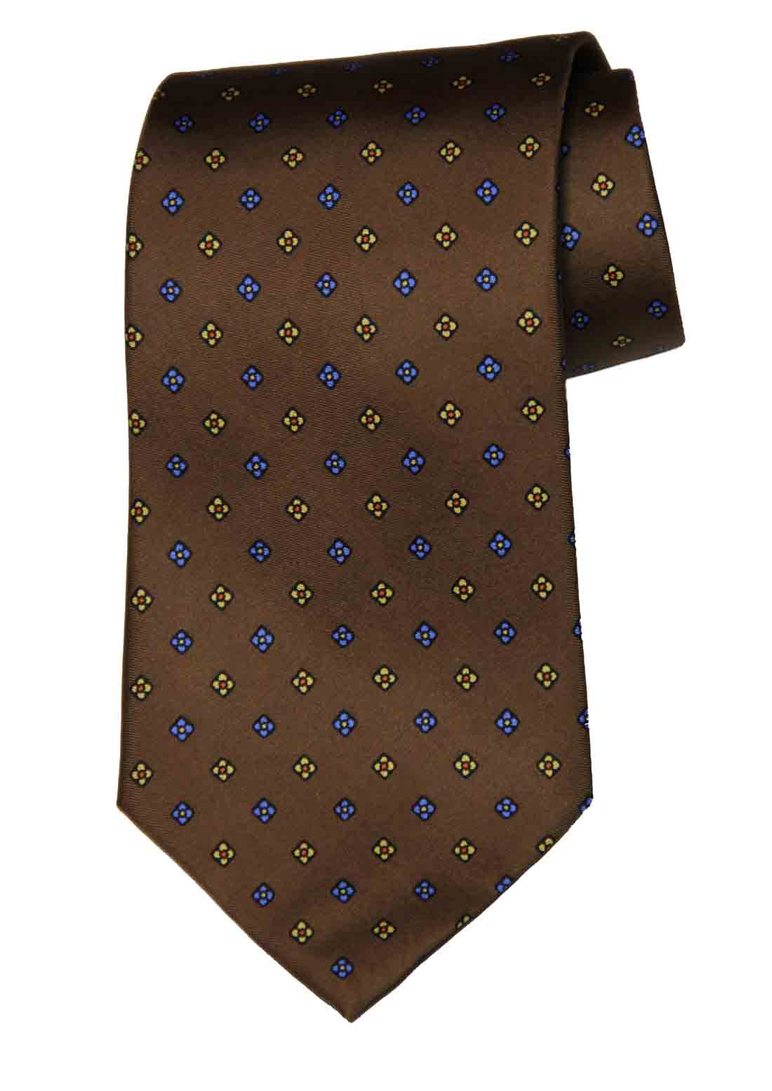 Brooks Brothers Silk Tie Brown Yellow Red Blue Floral Men's Long