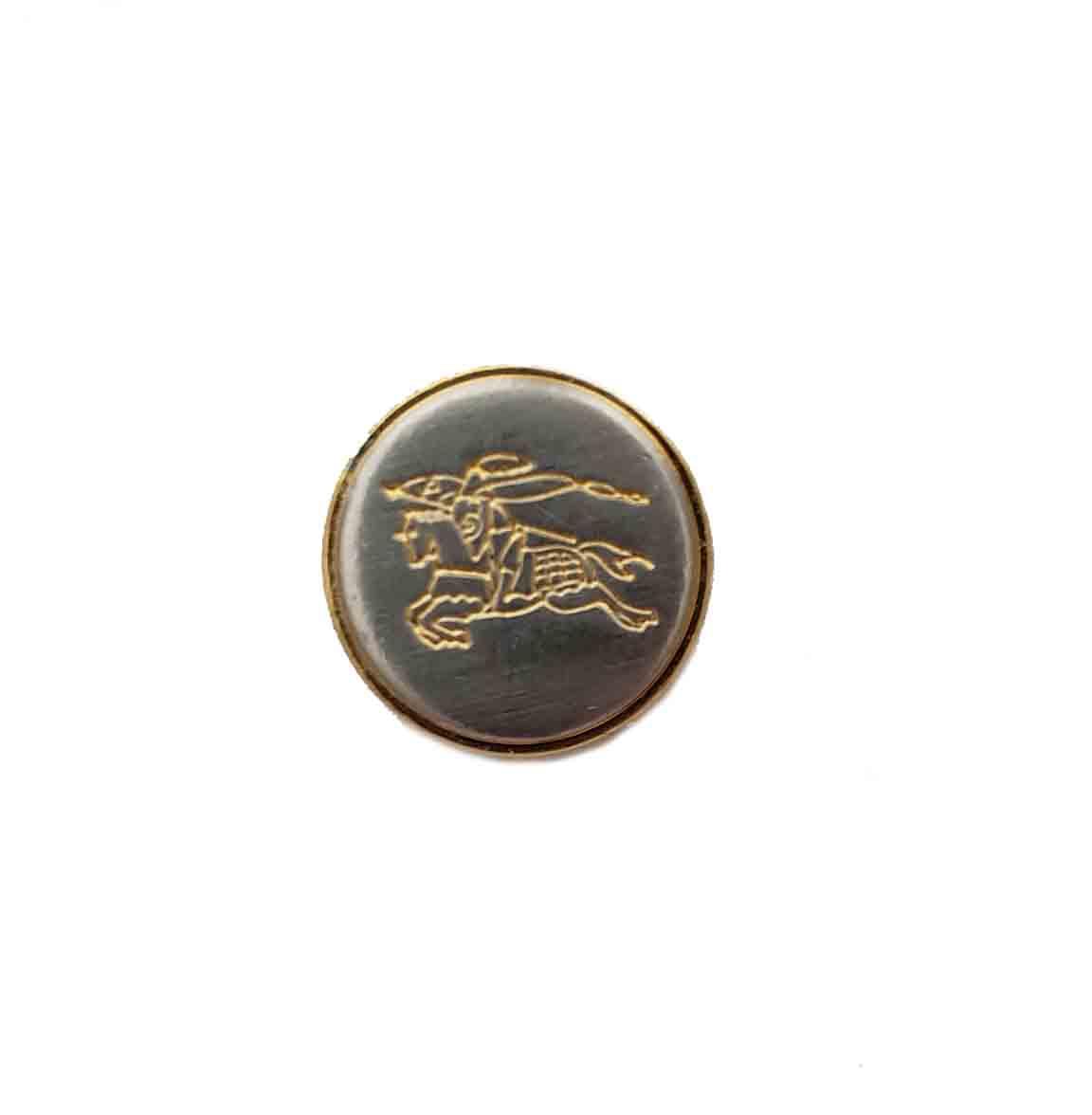 One Vintage Burberrys' Blazer Sleeve Button Silver Gold Metal Knightsman Pattern Men's