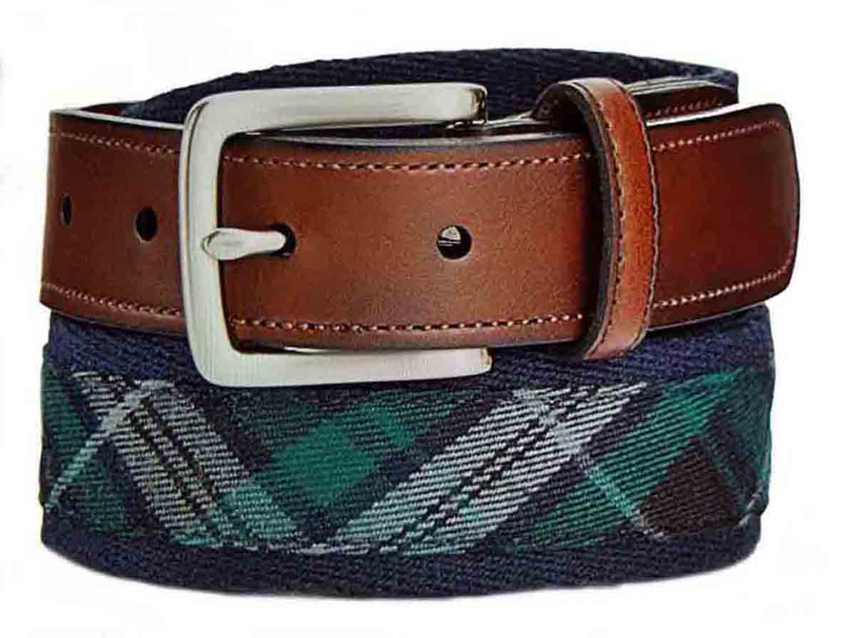 Club Room Tartan Plaid Belt Fabric Synthetic Leather Green Gray Navy Blue Men's Size 44