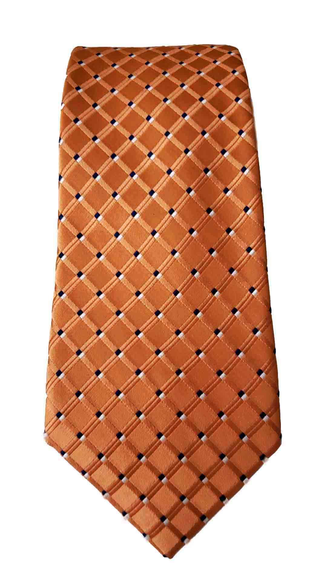 Club Room Silk Tie Orange Blue White Lattice Check Silk Men's