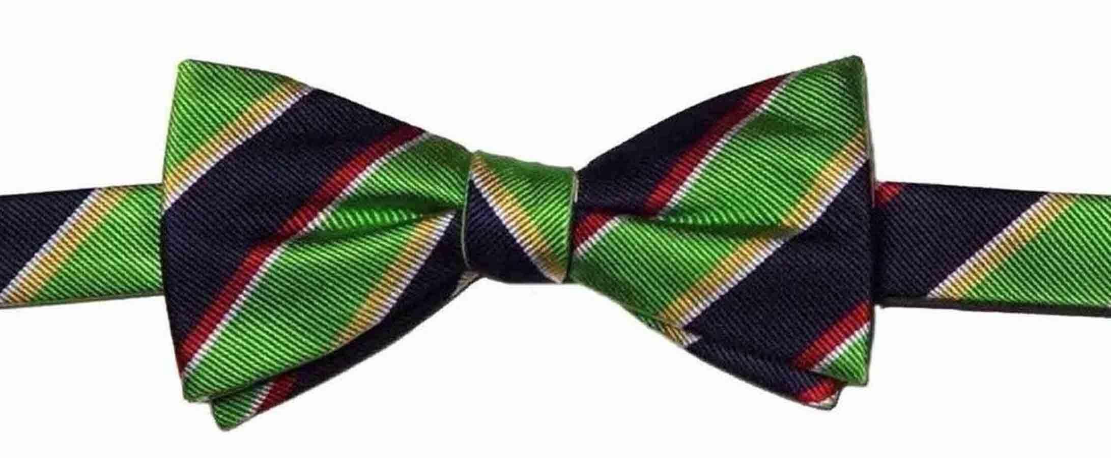 Countess Mara Regimental Stripe Bow Tie Green Red Blue Men's
