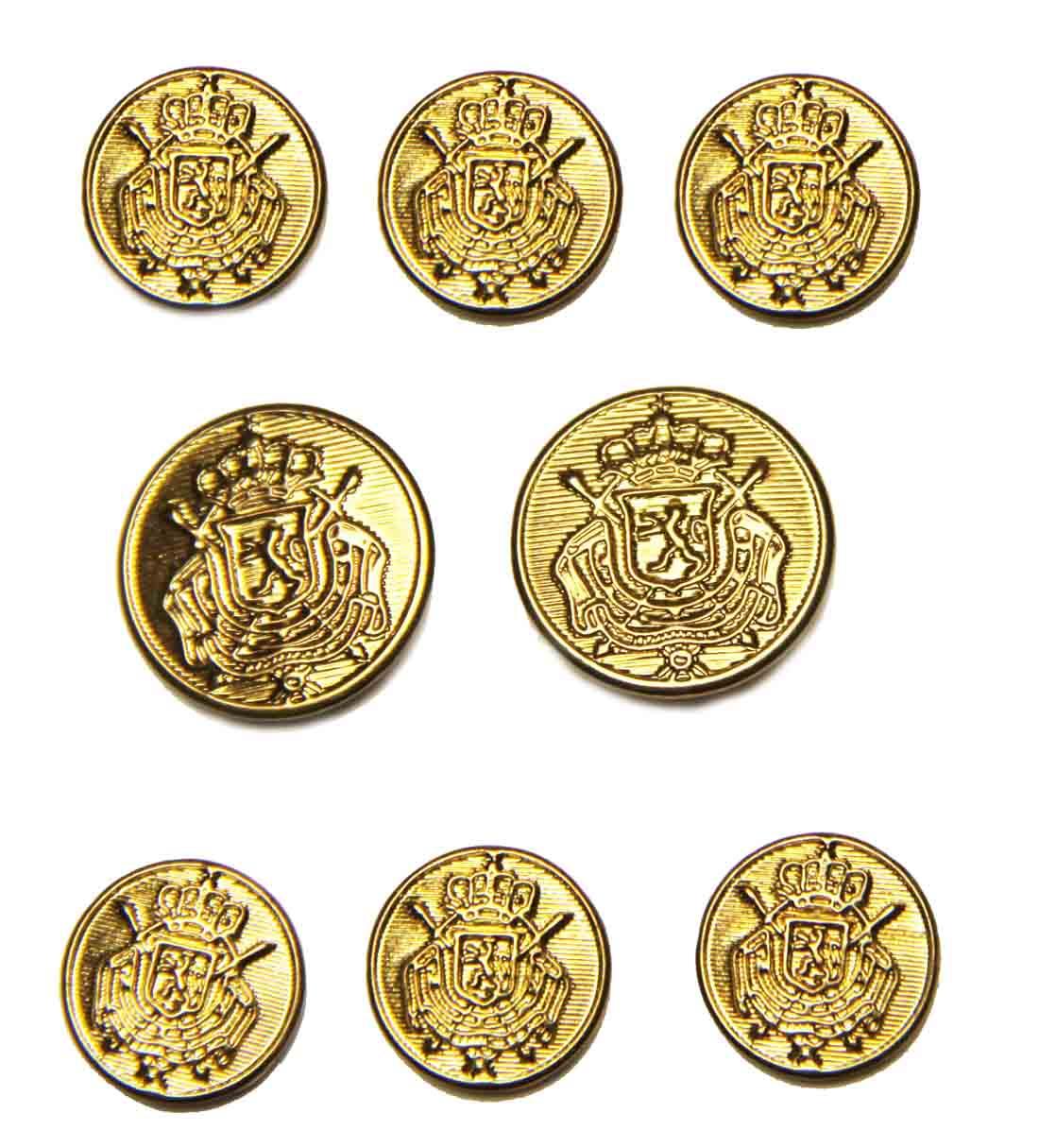 Waterbury Blazer Buttons Set Gold Brass Belgian Crest Men's