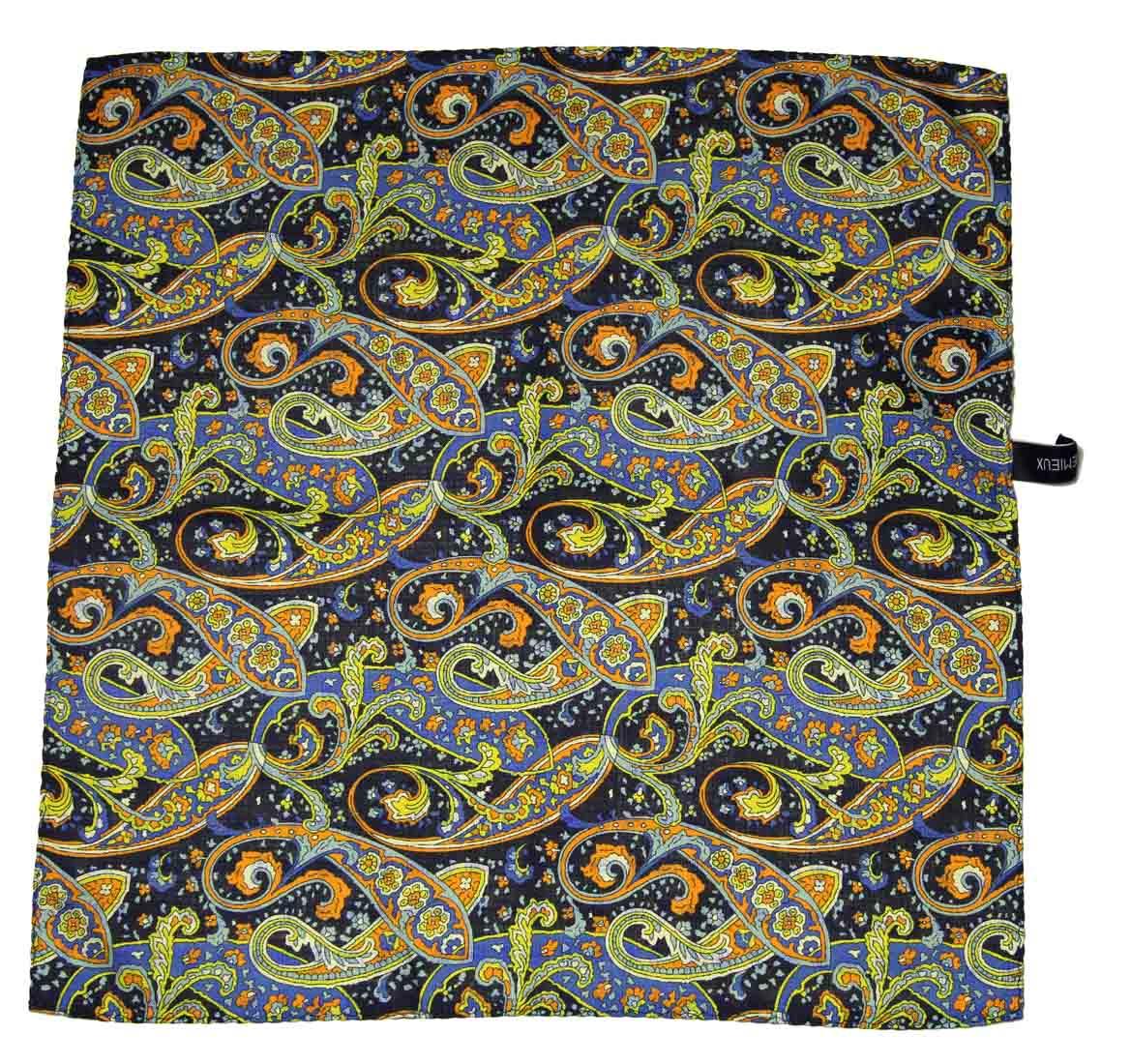 Daniel Cremieux Pocket Square Silk Blue Orange Yellow 16