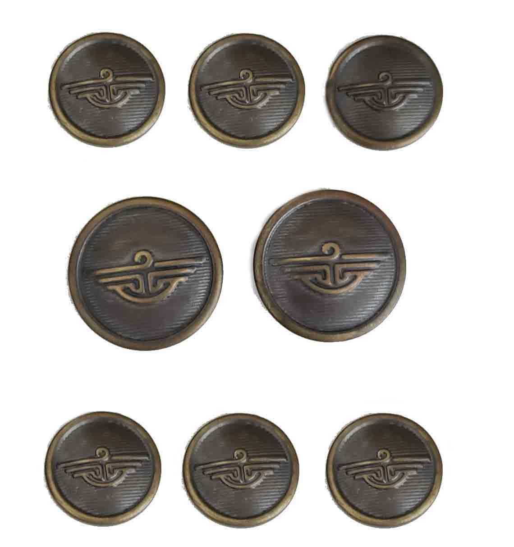 Vintage Dockers Blazer Buttons Set Antique Gold Brown Metal Shank Men's