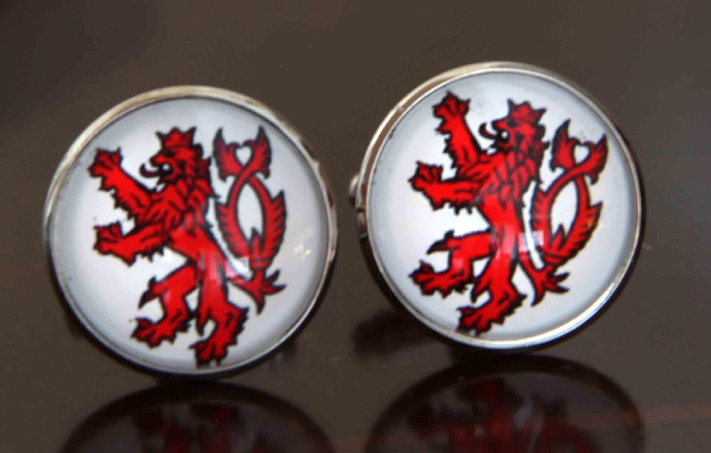 Gascoigne Cufflinks English Celtic Lion Cufflinks Red White Silver Men's