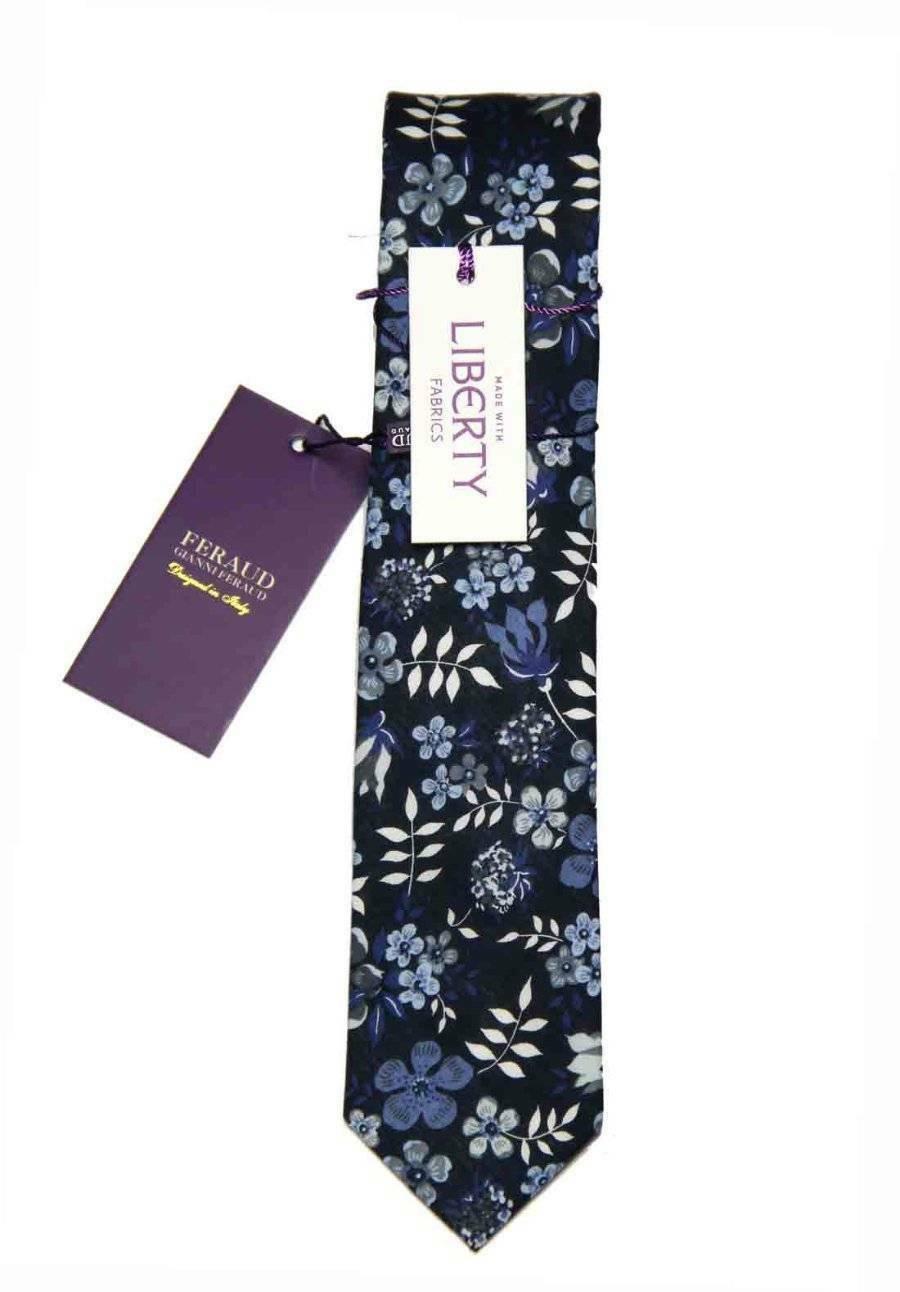Feraud Liberty of London Fabric Tie Cotton Floral Blue Gray White Men's
