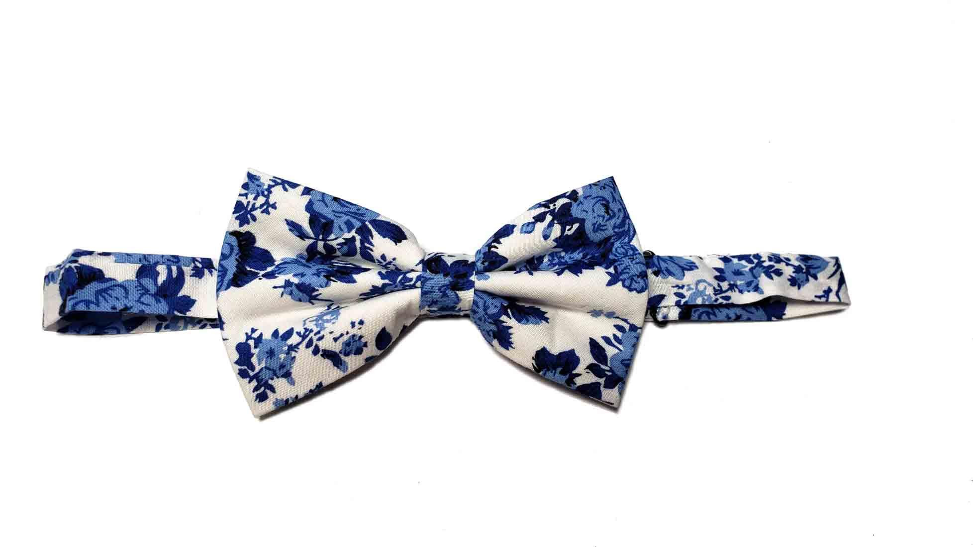 Gascoigne Floral Cotton Bow Tie Blue White Pre-Tied Men's